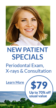 New patient specials! Periodontal exam, x-rays & consultation. $79 Up to 70% off usual value. Learn more.